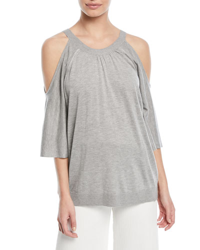 Cold-Shoulder Button-Back Sweater
