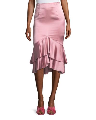 Anissa Fitted Satin Midi Skirt with Ruffled Hem