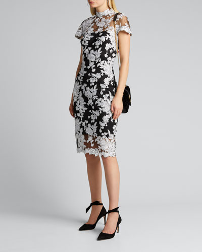 Lace Applique Cap-Sleeve Cocktail Dress