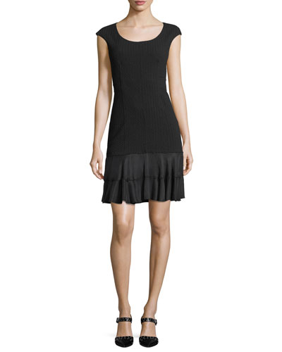 Terri Round-Neck Sheath Dress with Flounce Hem