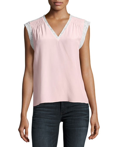 Sleeveless V-Neck Silk Blouse with Lace