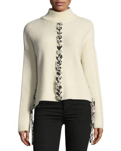 Mughal Lace-Front Wool Knit Sweater
