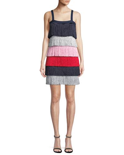 Rafi Sleeveless Tiered Fringe Mini Dress