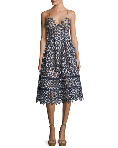 Sweetheart Azaelea Lace Fit-and-Flare Tea-Length Cocktail Dress