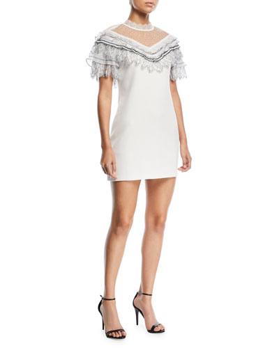 Pleated Trim A-Line Mini Crepe Cocktail Dress