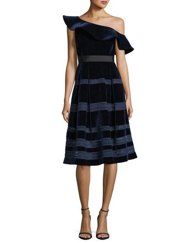 Off-the-Shoulder Velvet Midi Cocktail Dress