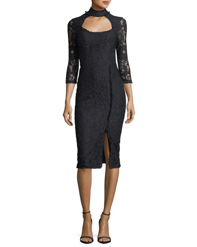 Fiorenza Mock-Neck Fitted Lace Cocktail Dress