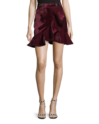 Velvet Flounce Mini Skirt
