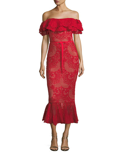 Off-Shoulder Flared Lace Cocktail Midi Dress