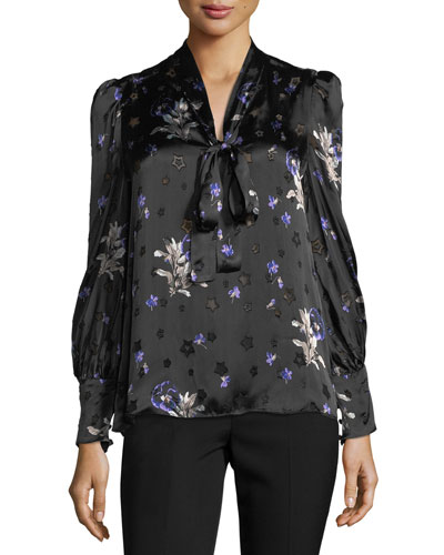 Long-Sleeve Floral-Print Tie-Neck Top