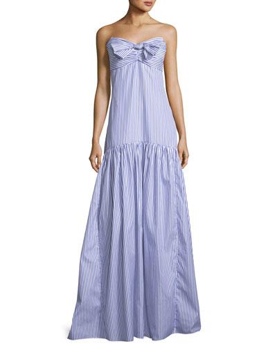 Strapless Bustier Striped Poplin Maxi Dress