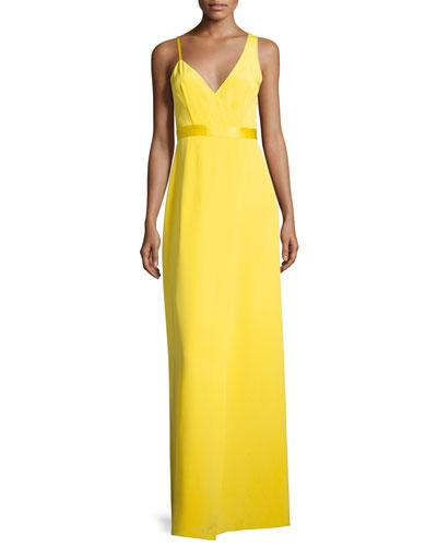 Asymmetric Sleeveless Side-Slit Gown, Yellow