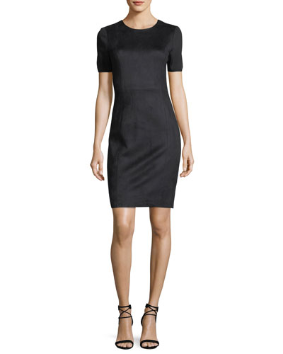 Emily Short-Sleeve Faux-Suede Sheath Dress