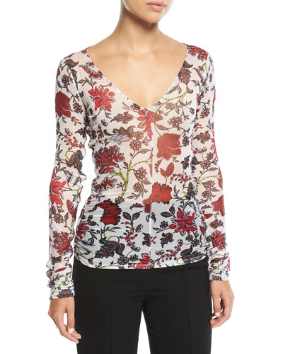 Long-Sleeve V-Neck Fitted Top