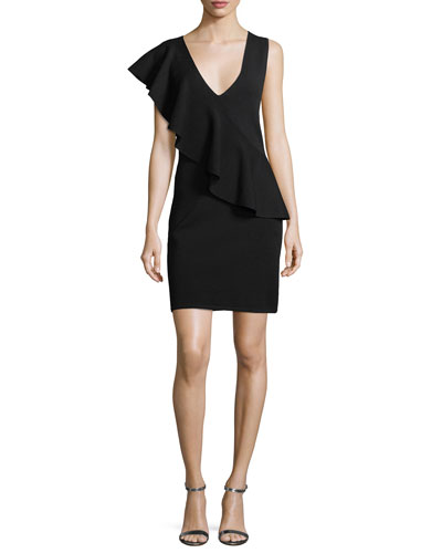Asymmetric Ruffle Sleeveless Crepe Dress