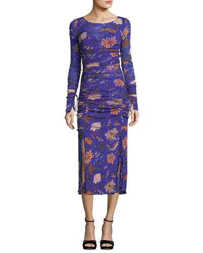 Floral-Print Long-Sleeve Overlay Mesh Gown