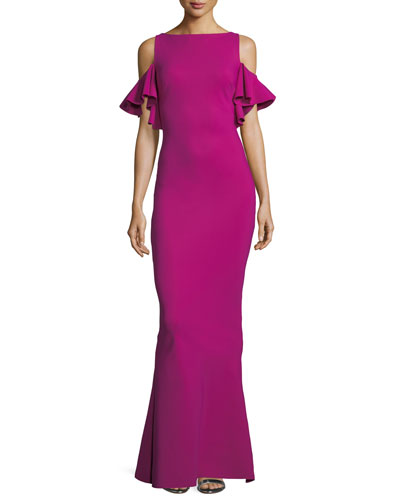 Tata Long Cold-Shoulder Ruffle-Sleeve Gown