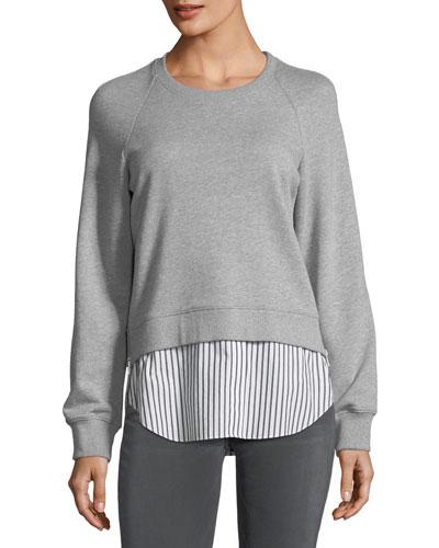 Crewneck Raglan Sweatshirt with Striped Shirt Hem