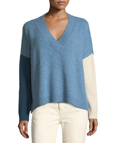 Colorblocked V-Neck Wool-Blend Sweater