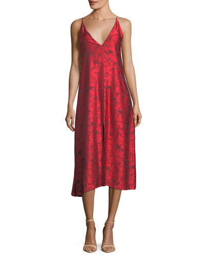 V-Neck Printed Viscose Midi Slip Dress