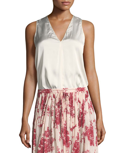 V-Neck Sleeveless Satin Top