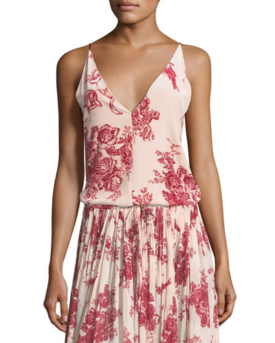 Liberty Floral-Print Velvet Camisole Top