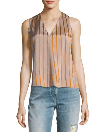 V-Neck Sleeveless Striped Top