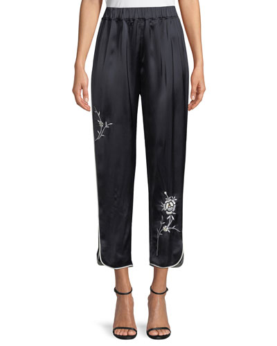 Wide-Leg Satin Pants with Floral-Embroidery