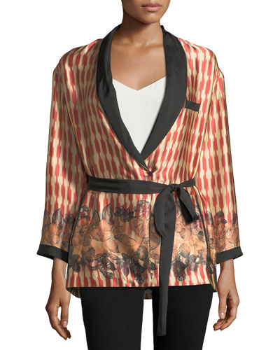 Printed Belted Silk Topper Jacket