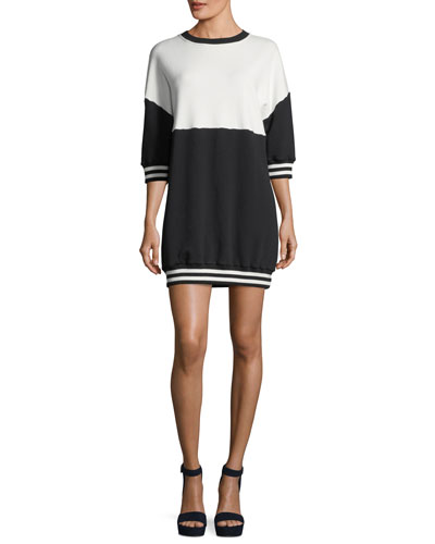 Gussie Crewneck Colorblocked Sweatshirt Dress