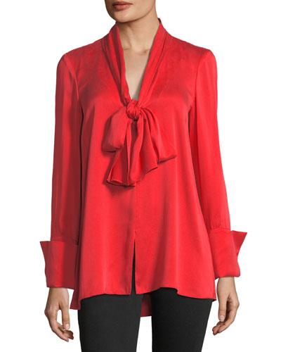 Gwenda Tie-Neck Silk-Blend Tunic Blouse