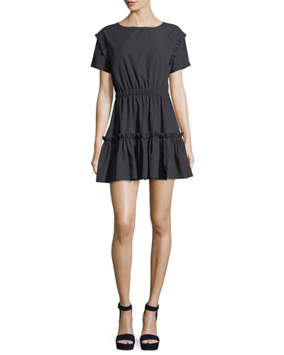 Garner Drop-Shoulder Fit-and-Flare Mini Dress