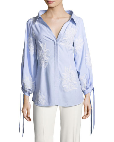 Toro Button-Front Pinstriped Shirt with Embroidery
