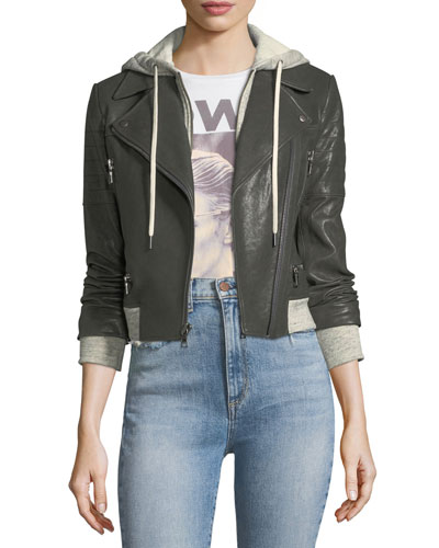 Avril Hooded Combo Sweatshirt Leather Jacket