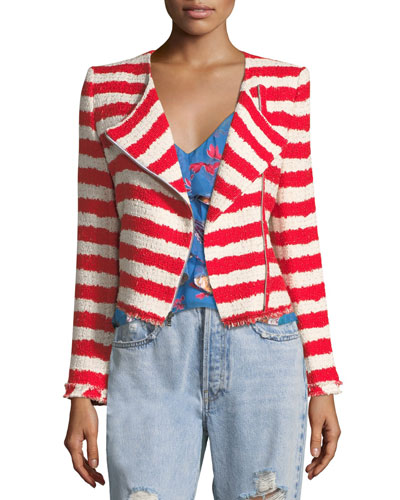 Stanton Zip-Front Striped Tweed Jacket with Frayed Edges