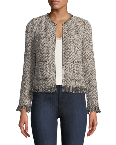 Zip-Front Tweed Jacket with Fringe