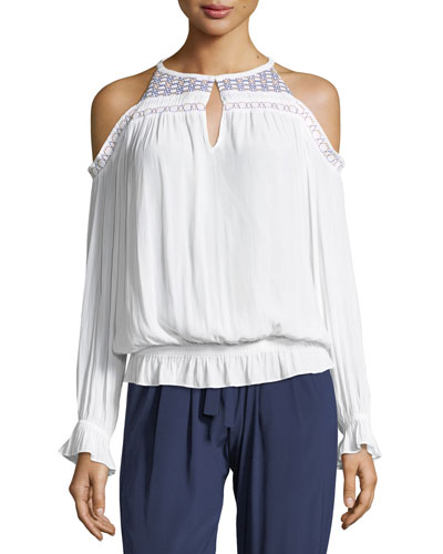 Harper Cold-Shoulder Blouson Top with Embroidery