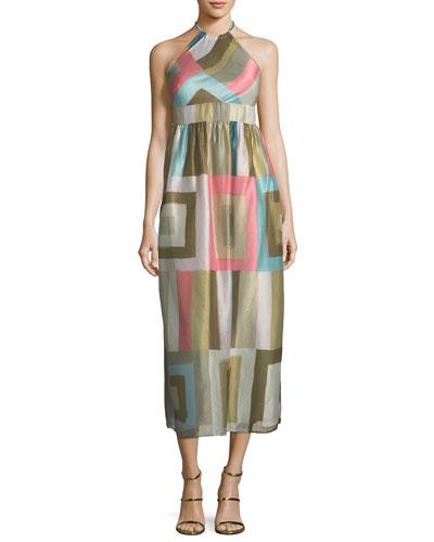 Check-Print Silk-Blend Organza Halter Dress