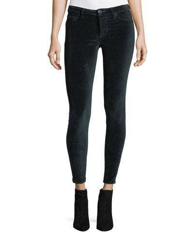 Barbara High-Rise Super-Skinny Velvet Ankle Jeans