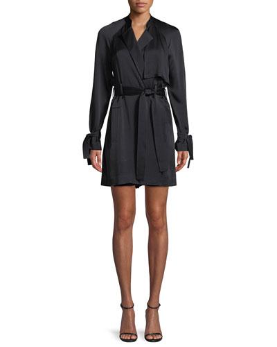 Kendall Tie-Waist Silk Trench Coat