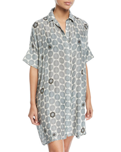 Button-Front Coverup Shirtdress with Hand Beading