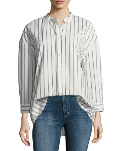 Poni Button-Front Striped Poplin Shirt