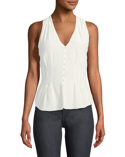 Eulalia V-Neck Sleeveless Silk Top