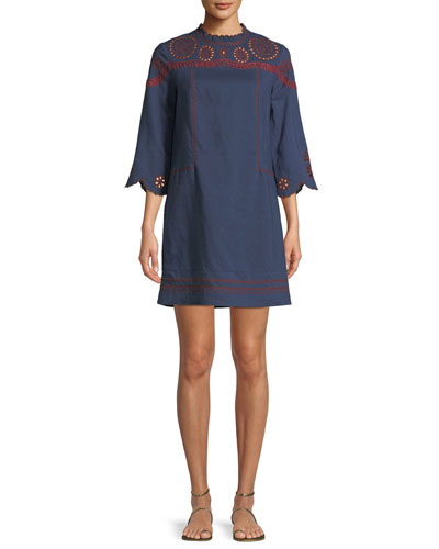 Linton Mock-Neck Dress with Embroidery