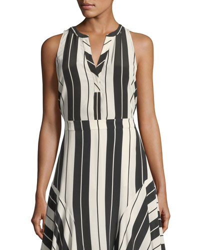Aruna Sleeveless Striped Silk Top