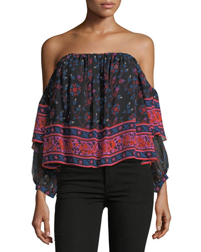 Ennata Long-Sleeve Printed Silk Blouse