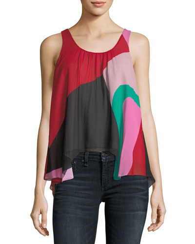 Felixa Sleeveless Colorblocked Draped Silk Blouse