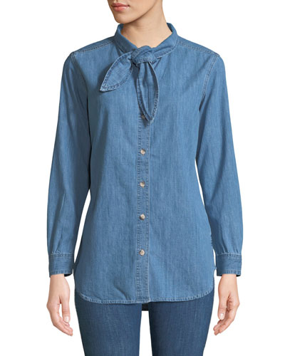 Booker Tie-Neck Button-Front Long-Sleeve Chambray Shirt
