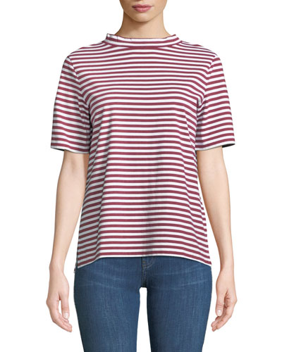 Penny Mock-Neck Striped Cotton Tee