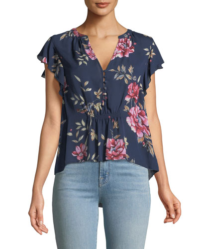Crisbell V-Neck Floral-Print Silk Top
